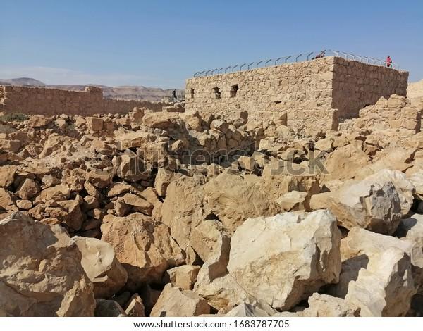 Ruins of ancient buildings on Mount Masada
