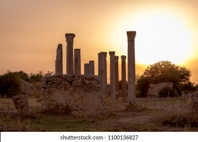 The ruins of ancient Carthage outside of Tunis, Tunisia at sunset
