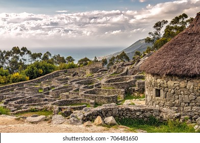Ruins of ancient Celtic village in Santa Tecla, Galicia, Spain.