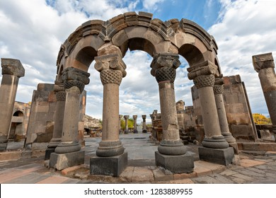 Ruins of the ancient christan temple of Zvartnots near Yerevan, Armenia.
