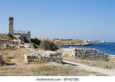 ruins of ancient city Chersonese, view of Signal bell, Sevastopol, Crimea, Russia