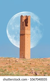 "Ruins of the ancient city of Harran / The old astronomy tower with super moon -  Urfa , Turkey (Mesopotamia)  ""Elements of this image furnished by NASA """