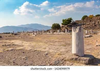 Ruins of ancient city Pergamon, Bergama, Turkey in a beautiful summer day