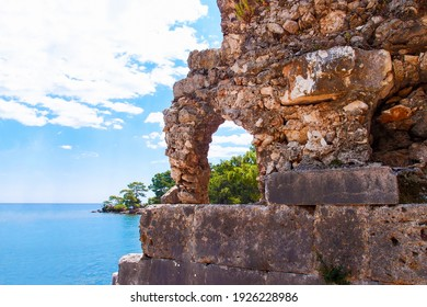 Ruins of the ancient city of Phaselis, Turkey. Roman ancient ruins on sea background. Phaselis Antik Kenti Antalya