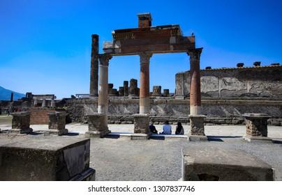 Ruins of ancient city of Pompeii near volcano Vizuvius, Naples, Italy.