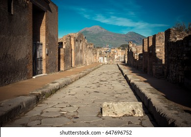 Ruins of ancient city of Pompeii, which was destroyed by volcano, Mount Vesuvius, about two millenniums ago, 79 AD. The place is open for visitors and it's a popular destination for tourists in Italy.