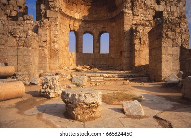 Ruins of ancient city, rocks shiny with gypsum,Rustafa,Syria, Middle East