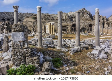 The ruins of the ancient city of Side. Side is an ancient Greek city on Mediterranean coast of Turkey. Antalya.