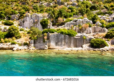 Ruins of the ancient city under water, Kekova island, Turkey