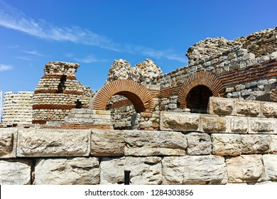 Ruins of Ancient Fortifications at the entrance of old town of Nessebar, Burgas Region, Bulgaria