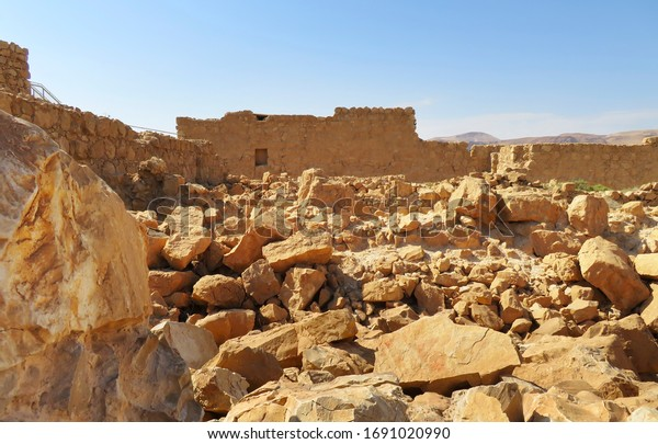 Ruins of ancient fortifications on top of Masada mount