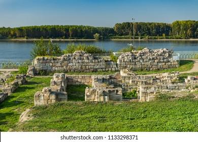 Ruins of ancient fortress Durostorum on the Danube river, Bulgaria