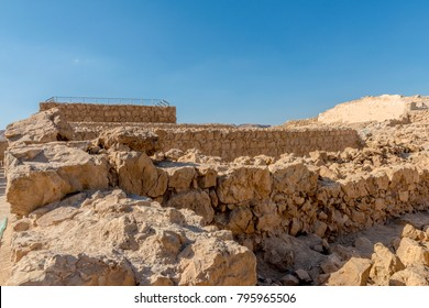 Ruins of the ancient fortress of Massada on the mountain near the dead sea in southern Israel