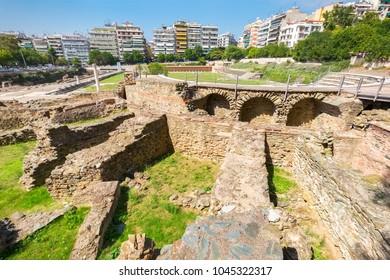 Ruins of ancient Greek Agora (later Roman Forum) in Thessaloniki. Macedonia, Greece, Europe