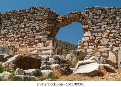 Ruins of the ancient Greek city Metropolis, Turkey