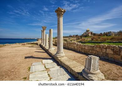 ruins of ancient greek polis Chersonese, Sevastopol. Crimea, Ukraine.