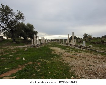 Ruins of ancient Greek and Roman city of Side on a cloudy and rainy day. Turkey