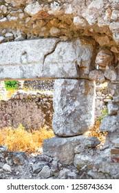 Ruins of ancient Greek and Roman ancient city of Olympos, near Cirali village in Antalya. April 2018, Turkiye
