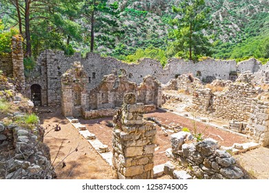 Ruins of ancient Greek and Roman ancient city of Olympos, near Cirali village in Antalya. Anyone keen on peace and solitude might consider trekking a portion of the 300-mile Lycian way. Turkiye