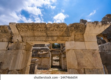 Ruins of ancient Greek-Roman amphitheatre in Myra, old name - Demre, Turkey. Myra is an antique town in Lycia where the small town of Kale is situated today in present day Antalya Province of Turkey.