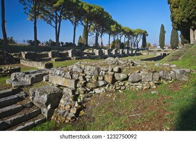 Ruins of ancient harbor in roman town Aquileia, Italy