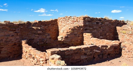 Ruins of an ancient Hopi ancestral building preserved at Homolovi State Park near Winslow, Arizona