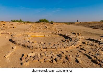 Ruins of ancient human settlement in Dholavira, Gujarat, India