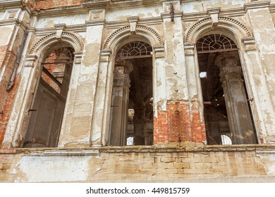 Ruins of ancient Lutheran church  Odessa, Ukraine. Historic building in 1803 built first German settlers destroyed by vandals of proletariat during revolution in Russia  20th century. Remains  temple