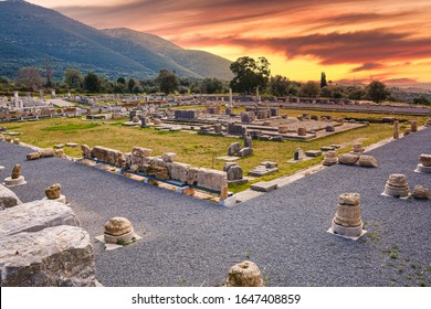 Ruins of Ancient Messene in Greece constructed over the ruins of Ithome, an ancient city originally of Achaean Greeks. Much of it has been archaeologically excavated and partly restored.