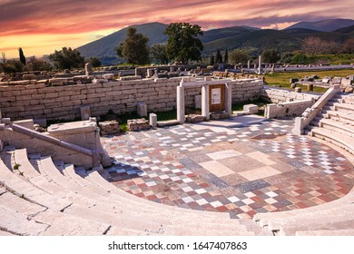 Ruins of Ancient Messene and surrounding area in Greece constructed over the ruins of Ithome, an ancient city originally of Achaean Greeks. It has been archaeologically excavated and partly restored.