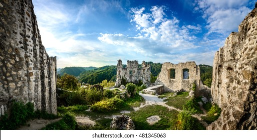 Ruins of ancient Old town on hill above Samobor