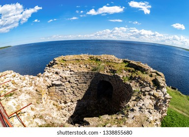Ruins of the ancient Oreshek fortress. Fisheye view on the Ladoga lake from the wall of the medieval fortress in Shlisselburg, Russia