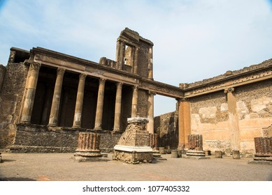 Ruins of the ancient Roman city of Pompeii, which was destroyed by mount Vesuvius volcanic eruption in AD 79.