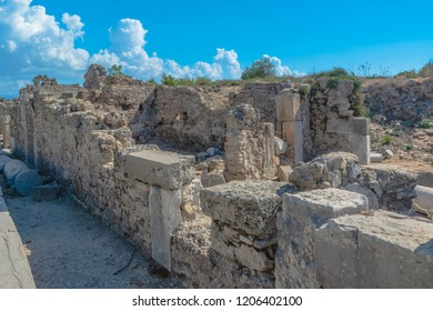 The ruins of the ancient Roman city of Side in Turkey. The remains of buildings, theater and other infrastructure of the ancient city. Historical monuments of ancient Greek and Roman eras.
