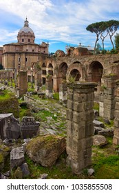 Ruins of ancient Roman forum in Rome, Lazio, Italy