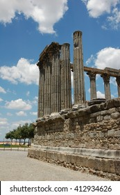 Ruins of an ancient Roman Temple in Evora, Portugal