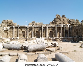 Ruins of ancient roman temple in Side, Turkey