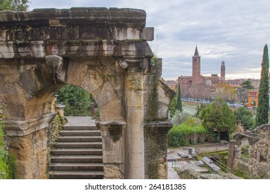 Ruins of an ancient Roman theater in the city of Verona, Italy.