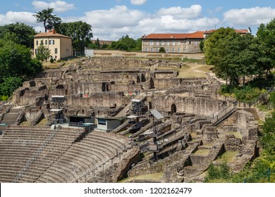 Ruins of Ancient Roman theatre in Lyon city, France