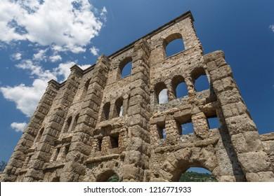 Ruins of the ancient Roman town Augusta Praetoria Salassorum in Aosta, Italy