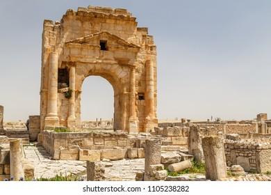 Ruins of the ancient Roman town Mactaris (modern Maktar), Tunisia