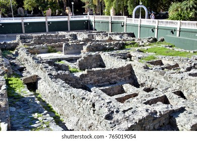 Ruins of ancient salting factory of the Romans in Almuñecar, Granada, Andalusia, Spain,