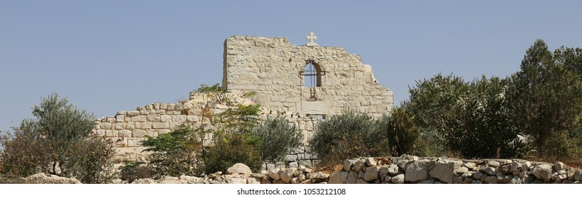 Ruins of ancient St. George church in Taybeh, Palestine.