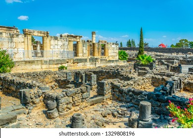 Ruins of an ancient synagogue in Capernaum, Isarel