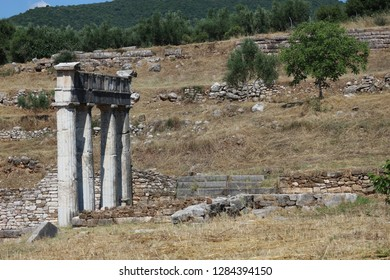 Ruins of ancient temple of Asclepius, archeological site Messini, Peloponnese, Greece