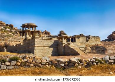 Ruins of ancient temple in Hampi, Karnataka, India