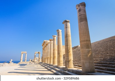 Ruins of ancient temple in Lindos, Rhodes