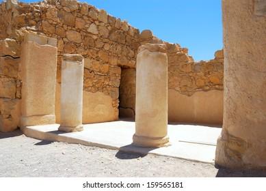 Ruins of ancient temple. Masada, Israel.