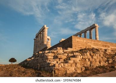 Ruins of ancient Temple of Poseidon (god of the sea) on Cape Sounio, near Athens, in Attika, Greece.