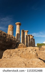 Ruins of an ancient Temple at the Valle dei Templi in Agrigento on Sicily Island, Italy